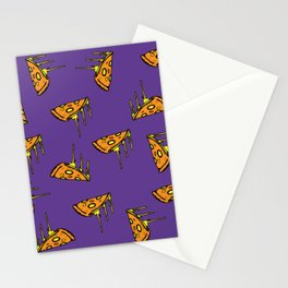 Pepperoni Pizza Dripping Cheese by the Slice Pattern (purple) Stationery Cards