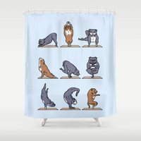 bull terrier Shower Curtains featuring Bull Terrier Yoga by Huebucket