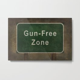 Gun-Free Zone road sign illustration Metal Print