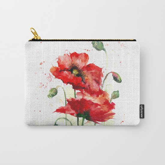 Watercolor flowers of aquarelle poppies Carry-All Pouch