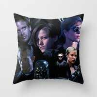 terminator Throw Pillows featuring Terminator Saga by Saint Genesis