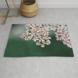 Blush Pink Flowers on Emerald Green Rug
