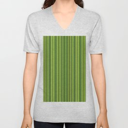Many multicolored strips in the green sample Unisex V-Neck