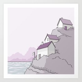 Houses on a cliff Art Print