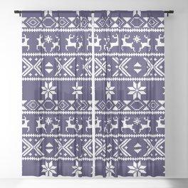 Fair Isle Blue  #Christmas Sheer Curtain