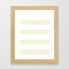 Wide Horizontal Stripes - White and Beige Framed Art Print