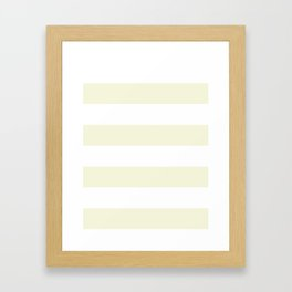 Wide Horizontal Stripes - White and Beige Framed Art Print