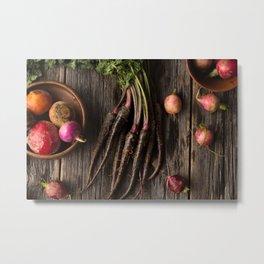 Organic Root Vegetables on Rustic Wood  Metal Print