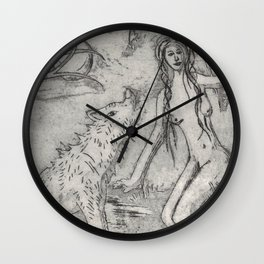 Nude and wolf Wall Clock
