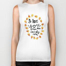 I love you more than candy corn Biker Tank