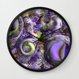 EMERGING SPHERES BLUE ABSTRACT Wall Clock