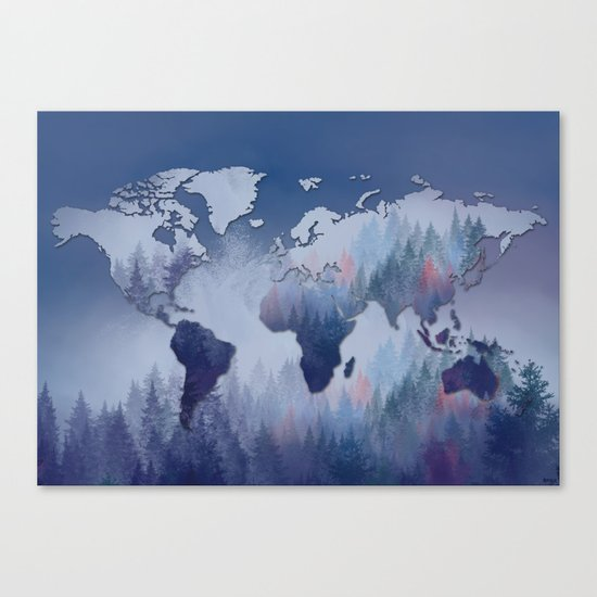 world map forest 5 Canvas Print