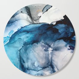 White Sand Blue Sea - Alcohol Ink Painting Cutting Board