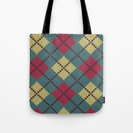 Faux Retro Argyle Knit Tote Bag