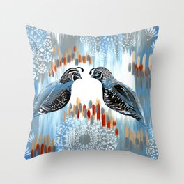 Quails and Grays Throw Pillow