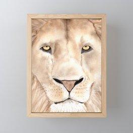 Great Lion Face close up, watercolor art.  Framed Mini Art Print
