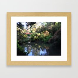 Kubota Garden pond with red bridge Framed Art Print