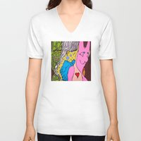 misfits V-neck T-shirts featuring LIZARD LADY and HER MERRY BAND of MISFITS by LEMONSQUARE