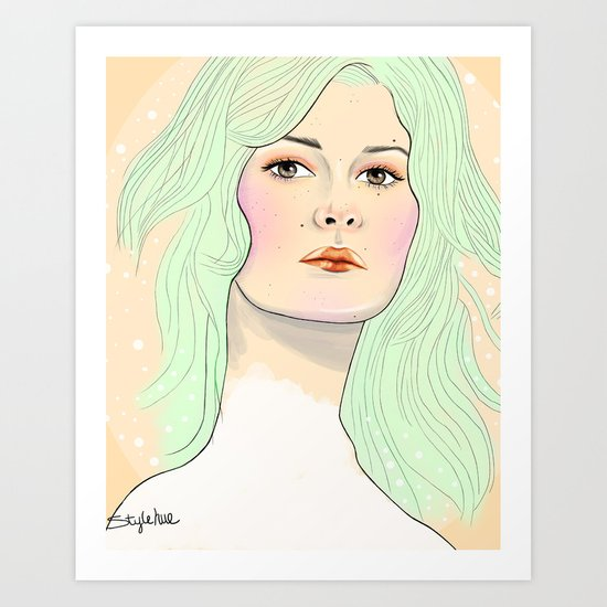 Green Hair Girl Art Print