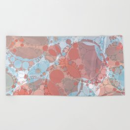 Round And Round Coral Blue Beach Towel