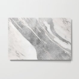 Marble - Silver Glitter on White Metallic Marble Pattern Metal Print