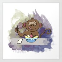 MONKEY EATS A BANANA SPLIT Art Print