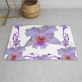 WHITE CATTLEYA ORCHIDS & PURPLE  ART Rug