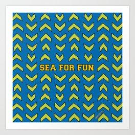 Sea for fun (blue) Art Print