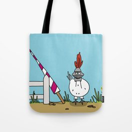 Eglantine la poule (the hen) dressed up as a knight Tote Bag