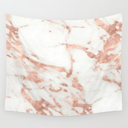 Marble - Metallic Rose Gold Marble Pattern Wall Tapestry
