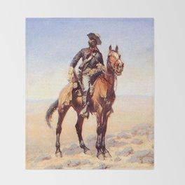 "Frederic Remington Western Art ""Buffalo Soldier"" Throw Blanket"