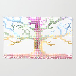 Rainbow Chakra Tree of Life - Real Stitch-able Color Coded Cross Stitch Chart Rug