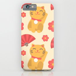 Japanese Lucky Cat Fan Flower Pattern Cute iPhone Case