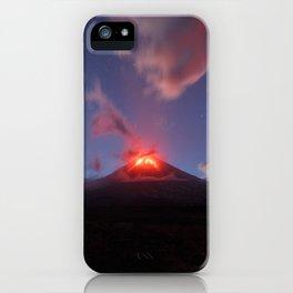 Night view of eruption Klyuchevskaya Sopka in Kamchatka Peninsula iPhone Case