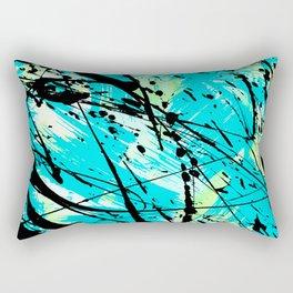 Abstract teal lime green brushstrokes black paint splatters Rectangular Pillow