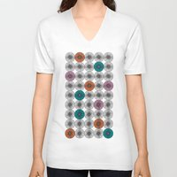 scandinavian V-neck T-shirts featuring Scandinavian Abstract Floral by She's That Wallflower