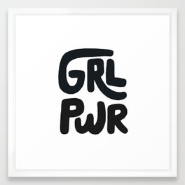 Grl Pwr black and white Framed Art Print