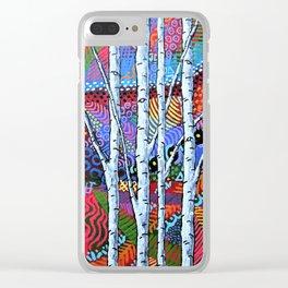 Sunset Sherbert Birch Forest Clear iPhone Case