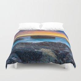 Rocky Beach Sunset Duvet Cover