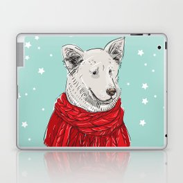 Merry Christmas New Year's card design White dog in a Christmas red knitted sweater. Shepherd Sketch Laptop & iPad Skin