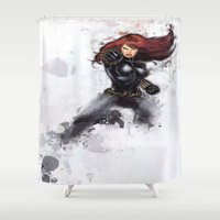black widow Shower Curtains featuring Black Widow by Isaak_Rodriguez