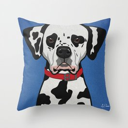 Icons of the Dog Park: Dalmatian Design in Bold Colors for Pet Lovers Throw Pillow