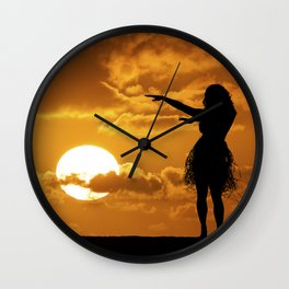 Sunset hula. Wall Clock