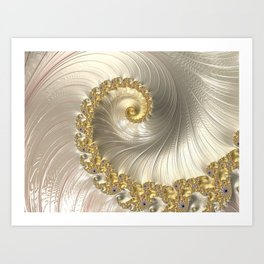 Gold and Pearl Fractal Swirl Art Print