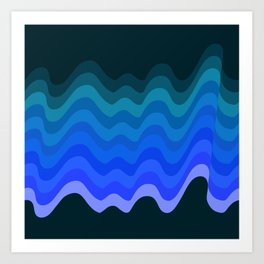 Blue Wave Retro Ripple Art Print