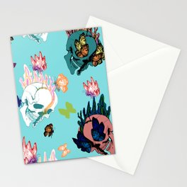 Skulls and Butterflies Colored Pattern Stationery Cards