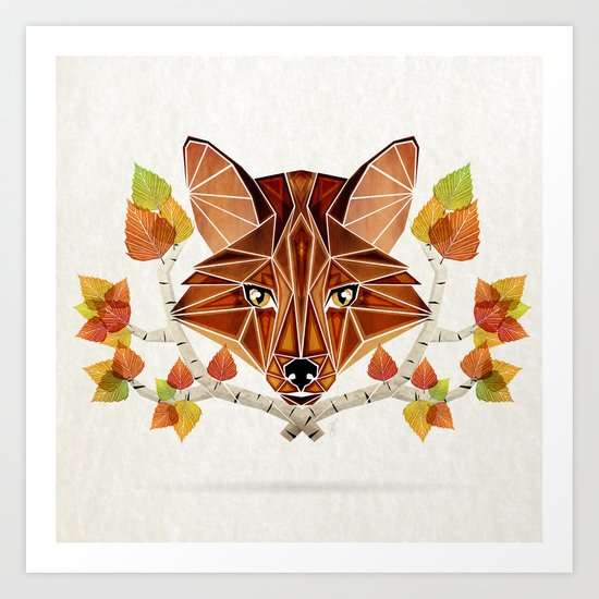 fox autumn Art Print