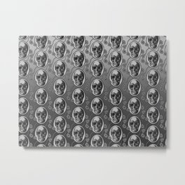 Skulls and Poppies - Antique Vintage Floral Skeleton Pattern Metal Print