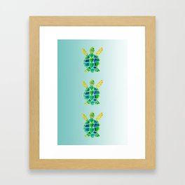 Swimming Baby Sea Turtles Framed Art Print