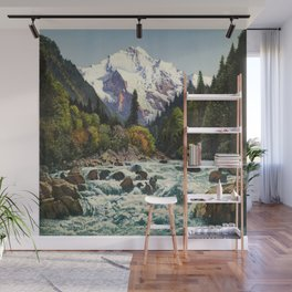 Mountains Forest Rocky River Wall Mural